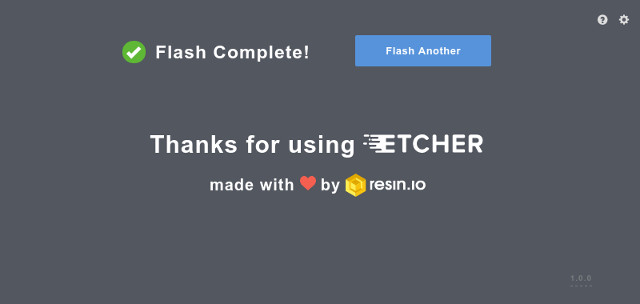 Etcher flashing done!